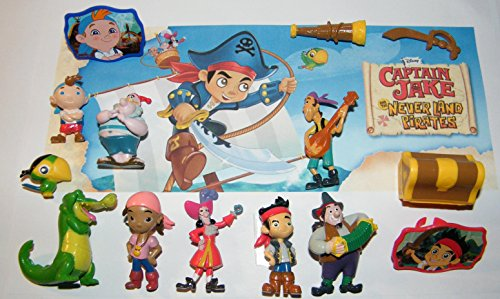 Land Gift Set - Disney Jake and the Never Land Pirates Deluxe Figure Set of 14 Toy Kit with 12 Figures and 2 ToyRings featuring Jake. Izzy, Capt. Hook, Tick-Tock, Pirates and More!