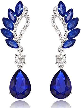 Hanie Sapphire Color Wing Drop Dangle Earrings Teardrop Blue Marquise Zircon Silver Tone