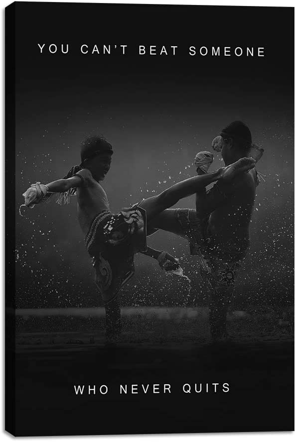 "Yetaryy Inspirational Wall Art Canvas Prints Motivational Muay Thai Fighting Pictures Thai Boxing Posters Prints Artwork Modern Inspiring Office Living Room Sport Gym Decorations Framed - 12"" Wx18 H"