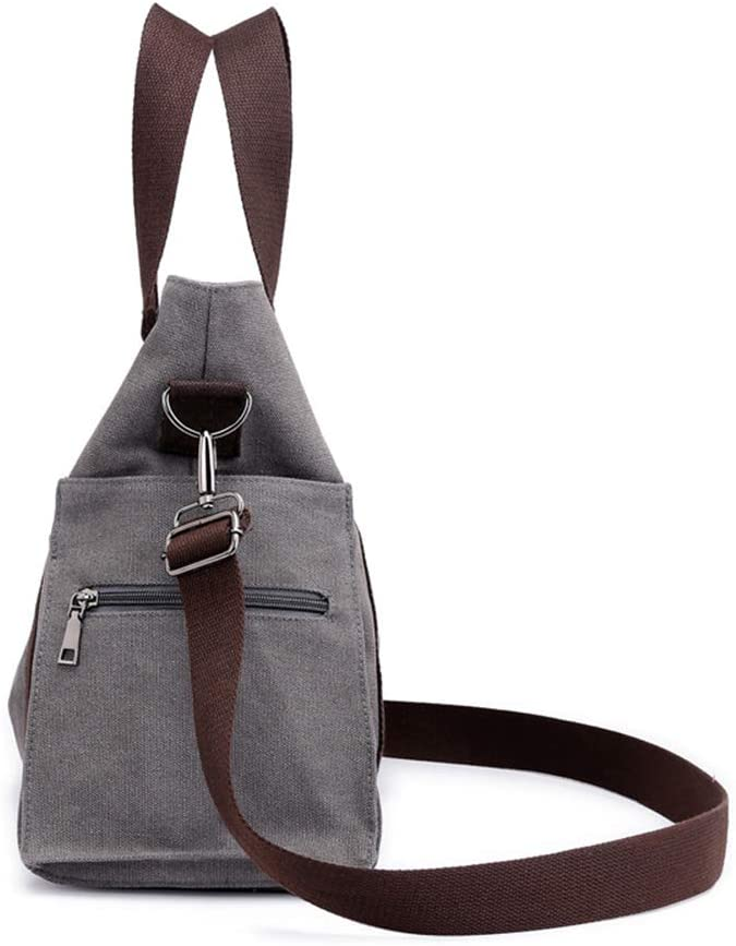 Womens Shoulder Bag Casual Wild Canvas Large Capacity Light Travel Work Daily Portable Messenger Bag,Gray,M