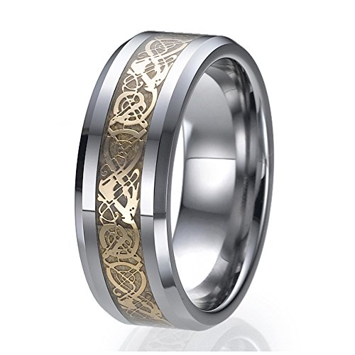 Fit Comfort Flat Wedding Band - NDSTORE 8mm Tungsten Celtic Dragon Gold Inlay Flat Comfort Fit Wedding Band Ring Sizes 9 to 13