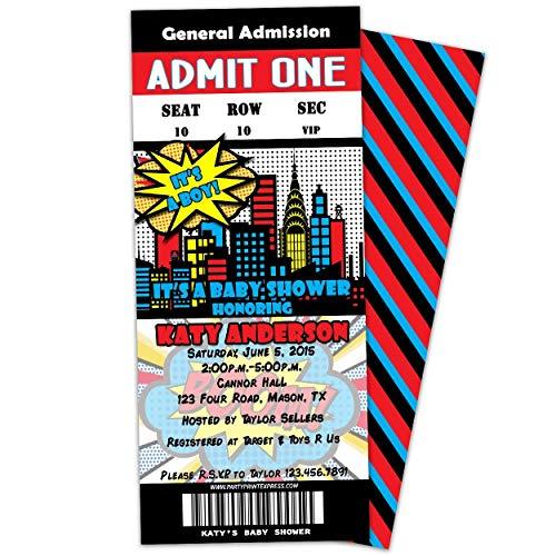 Black Comic Superhero Baby Shower Invitations Ticket ()
