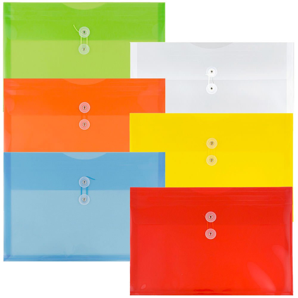 JAM Paper Plastic Envelope with Button and String Tie Closure - Legal Booklet - 9 3/4'' x 14 1/2'' x 1 1/4''- Assorted Primary Colors - 6/pack