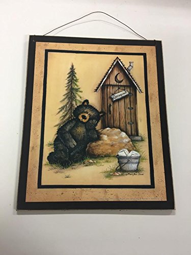 Occupied Black Bear cabin theme wood sign country bathroom bath decor decorations