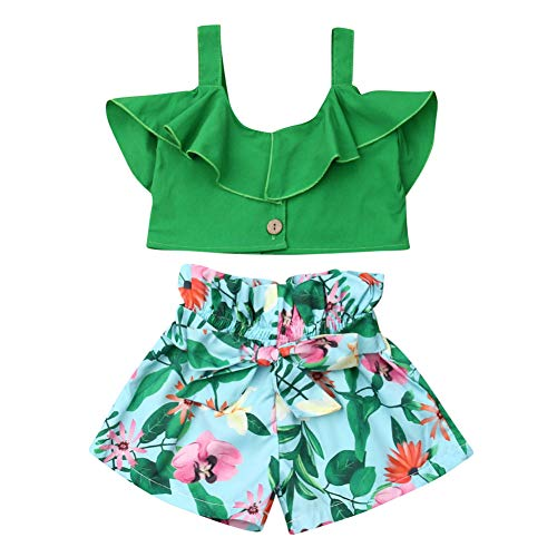 2Pcs/Set Fashion Toddler Kids Baby Girl Sleeveless T-Shirt Top+Floral Denim Shorts Outfits (Green, 5-6 Years)