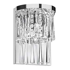Dainolite JOS-7-2W 2-Light Crystal Wall Sconce, Polished Chrome/Crystal