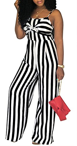 SheKiss Women's Sexy Spaghetti Strap Striped Tie Bowknot Long Pants Palazzo Jumpsuits Rompers Ladies Outfits Black