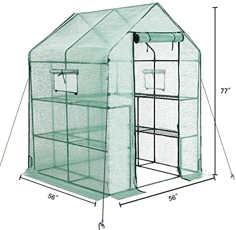 VEIKOU Portable Walk-in Greenhouse for Outdoors with Shelves and Windows, Small Mini Green House for Plants Growing, 56 x 56 x 77