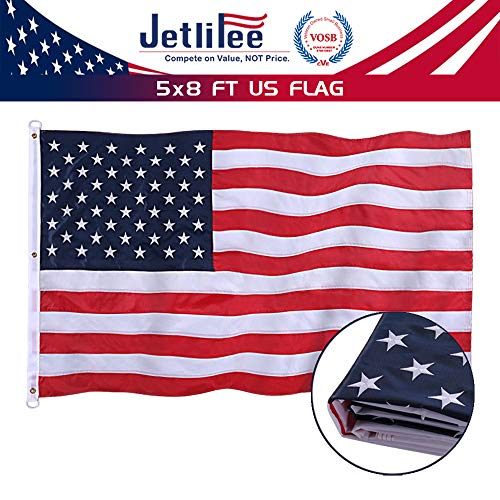 Jetlifee American Flag 5x8 Ft - by U.S. Veterans Owned Biz. Embroidered Stars, Sewn Stripes, Brass Grommets US Flag.Outdoors Indoors USA Flags Polyester 5 x 8 Foot. (Flags Cheap Outdoor)