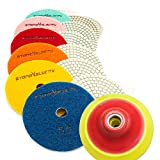 Diamond Polishing Pads 4 inch Wet/Dry 8 Piece Set Granite Stone Concrete Marble (Set with Preium Backer)