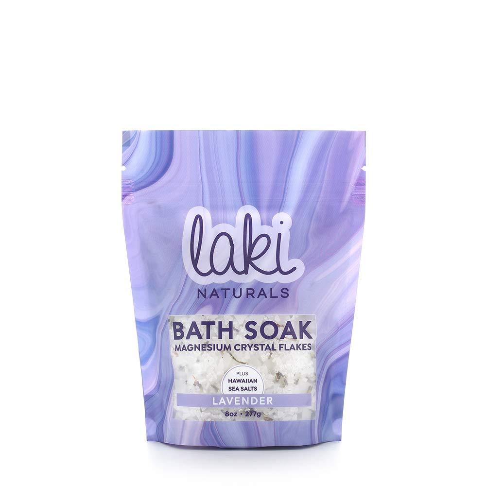 Laki Naturals Bath Soak - Magnesium Flakes with Hawaiian Sea Salt - Therapeutic Bath Salts for Relaxation (Lavender, 8 oz)