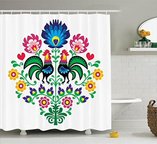 (Gallos Decor Shower Curtain by Ambesonne, Polish Embroidery with Roosters Garden Happy Fashion Celebration Spring Slav Poland Image, Fabric Bathroom Set with Hooks, 69 X 70 Inches, Blue Pink and)