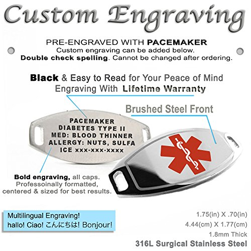 Oval Links Pre-Engraved /& Customizable Blood Thinners Medical Bracelet Red Symbol My Identity Doctor