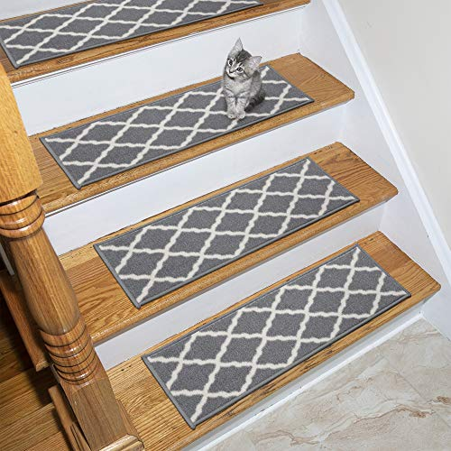 "Ottomanson Glamour Collection Trellis Design Stair Tread, 8.5"" X 26"" Pack of 7, Gray"
