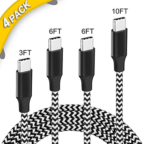 USB C Cable,4 Pack[3FT,6FT,6FT,10FT] USB C to USB A Charger Cords, Nylon Braided Fast Charging&SYNC Cord for Type-c Smartphones,notebooks and Tablet Such as Huawei Mate 9 and More(Black & White)
