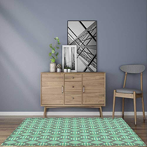 - Soft Microfiber Shag Bath Rug Striped Pattern with Bold Vertical Repeating Zig Zags Mint Green Seafoam Sage Green Mildew Resistant