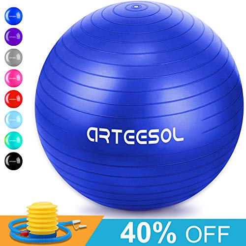(arteesol Exercise Yoga Ball, Extra Thick Stability Balance Ball (45CM-75CM / 5 Colours), Professional Grade Anti Burst & Slip Resistant Balance, Fitness&Physical Therapy, Birthing Ball with Air Pump)