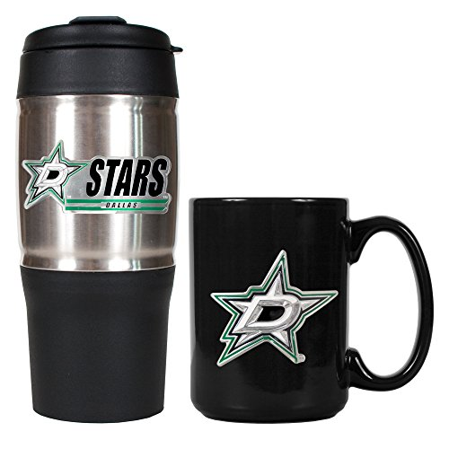 NHL Detroit Red Wings Heavy Duty Travel Tumbler and Ceramic Mug Set, Silver/Black, 18/15-Ounce