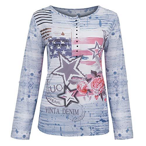 Tunic Women's Long Blue Sleeve Shirt XOWRTE Blouse Floral Loose Tops Print T YSdwIYBqUn