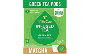 VitaCup Green Tea Pods 16ct with Matcha, Moringa, and Vitamins, Keto|Paleo|Whole30 Friendly, B1, B5, B6, B9, B12, D3 Compatible with K-Cup Brewers Including Keurig 2.0, Top Rated Tea