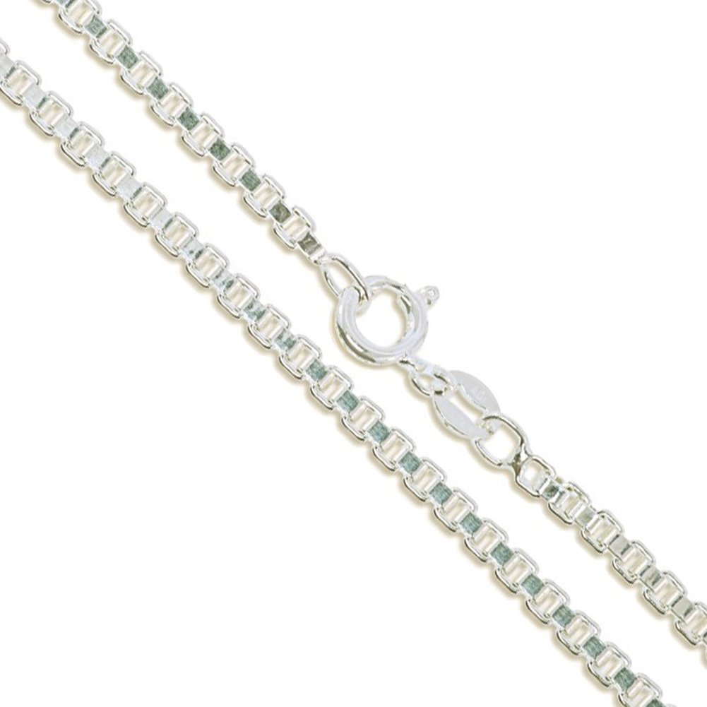 Sterling Silver Box Chain 2.4mm Genuine Solid 925 Italy Classic New Necklace