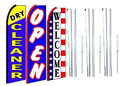 Dry cleaners, open Welcome King Swooper Feather Flag Sign Kit With Complete Hybrid Pole set- Pack of 3