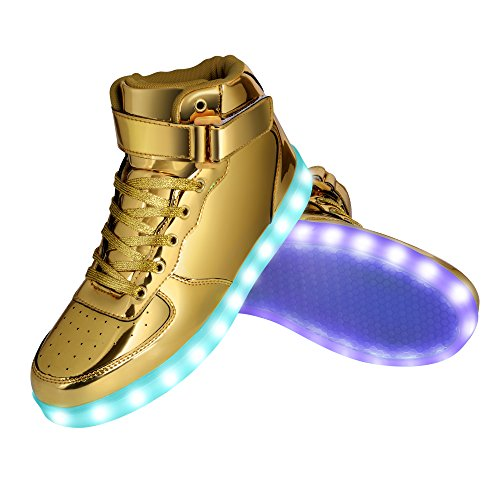 Rubber Stitch Sole (GreatJoy Cool Fun Light Up LED Shoes Sneaker 7 Colors USB Charging (37 / 6B Women / 4.5D Men, Gold))