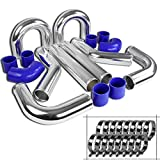 Spec-D Tuning IC-KIT-UNV30BL-90 Intercooler Piping Kit (Blue - 3 In)