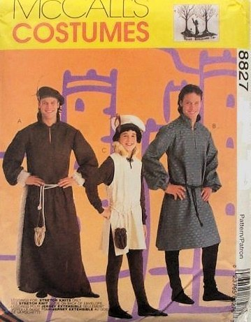 McCalls 8827 Men's Medieval Costumes Costume Sewing Pattern Size 42-44 - Male Renaissance Costume Patterns
