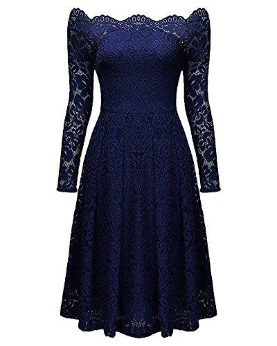 Formal Whoinshop Neck Sleeve Women's Floral Cocktail Boat Lace Navy Long Vintage Blue Swing Dress qzqFa