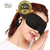 Drkao 2 Pack Eye Mask with Ear Plugs Sleeping Mask Black Color Lightweight with Adjustable Strap - 3D Eye Mask for Sleeping for Man Eye Sleeping Mask for Sleeping for Woman