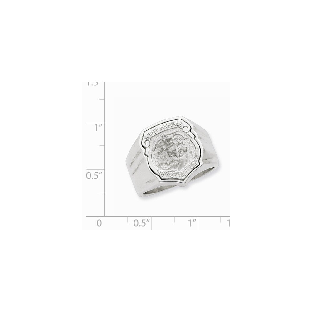 Diamond2Deal Solid 14K White Gold Over Mens Saint Michael Ring Fine Jewelry Ideal Gifts for Women