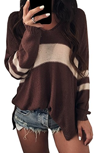 Rayures Longues Lache Casual Marron Chandail neck Manches Pullovers V Femme BLACKMYTH fw54UU