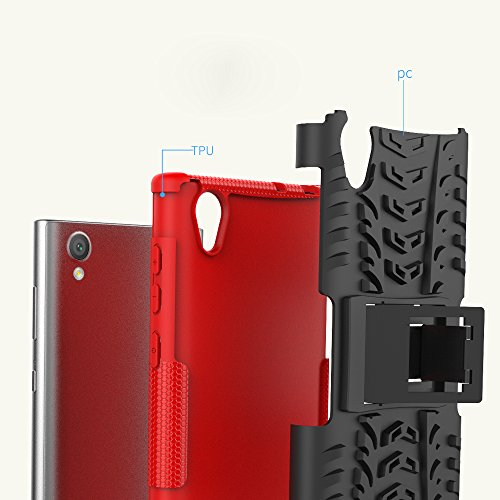OFU®Para Sony Xperia L1 Smartphone, Híbrido caja de la armadura para el teléfono Sony Xperia L1 resistente a prueba de golpes contra la lucha de viaje accesorios esenciales del teléfono-Rose Red azul