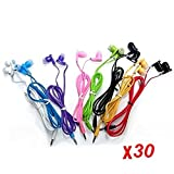 JustJamz 30 Pack 3.5mm Stereo In-Ear Earbud Headphones - Earphones (Assorted Colors)