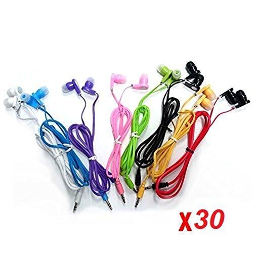 - JustJamz 30 Pack 3.5mm Stereo in-Ear Earbud Headphones - Earphones (Assorted Colors)