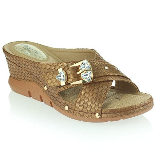 Casual Masaje Sandalias Presión Cuña de Único Mujer Flexible Respirable Talla de Ponerse Amortiguado Antideslizante Marrón Zapatos Puntos Señoras Tacón Suave qxtwaPv