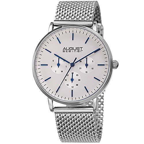 August Steiner Designer Men's Watch – Fine Mesh Stainless Steel Silver Tone Bracelet Strap - Day, Date and 24 Hour Multifunction Sub Dials – AS8255SS