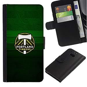 Portland Timber - la tarjeta de Crédito Slots PU Funda de cuero Monedero caso cubierta de piel Para HTC One M8