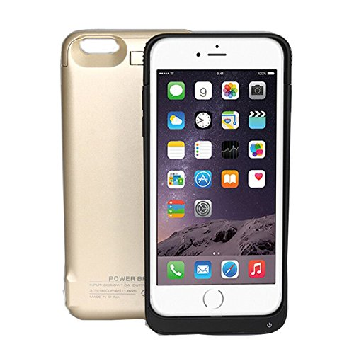 iPromama iPhone 6 Plus 8200mAh Battery Case, External Battery Charger case Compatible with The iPhone 6 Plus 8200mAh Power Battery Pack-Golden
