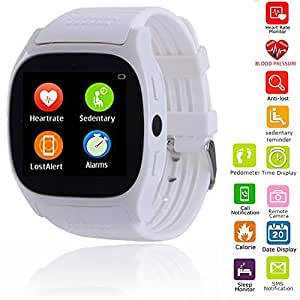Wrist Smart Watch Bluetooth Screen Touch Smartwatch Phone Mate with Heart Rate Monitor Blood Pressure For Android IOS Samsung iPhone Motorola Huawei LG HTC Smartphones for Women Men Boys Girls (White)