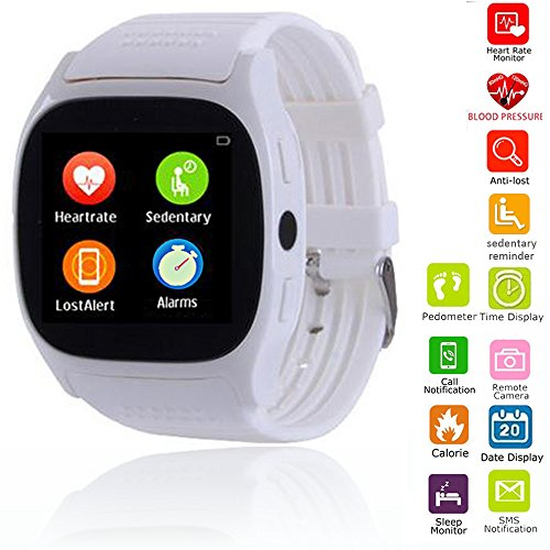 Smart Watch Touch Screen Bluetooth Smartwatch Phone Mate with Heart Rate Monitor Blood Pressure Compatible with Android iOS Samsung iPhone Motorola Huawei LG Smartphones for Women Men Boys Girls