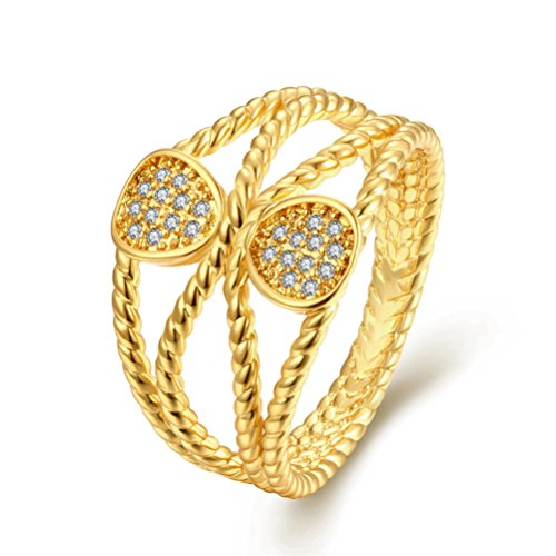 Women Girls Cross Infinity Love Statement Cocktail Wave Ring 18K Gold Plated -