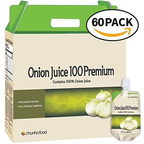 Chunho Food Onion Juice 100 Premium, Contains 100% Onion. Helps Reinforce Stamina, Avoid Aging Skin, and Maintain Healthy Liver. No Preservatives and Artificial Additives. [60 Pack]