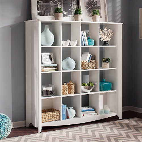 Bush Furniture Aero 16 Cube Bookcase/Room Divider in Pure White (Open Center Bookcase)
