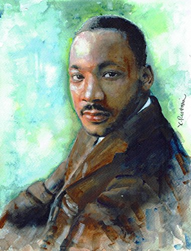 """Original/Print of the Watercolor Painting """"Dr Martin Luther King Jr Portrait"""" on Quality Artistic Paper. Wall decor. Office Decor. Gift Idea. ACEO size available."""