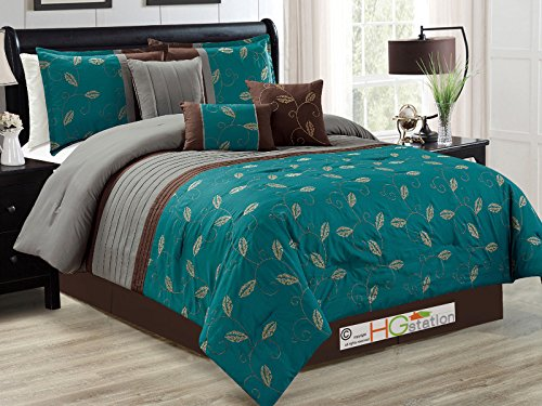 teal and brown leaves design bedding