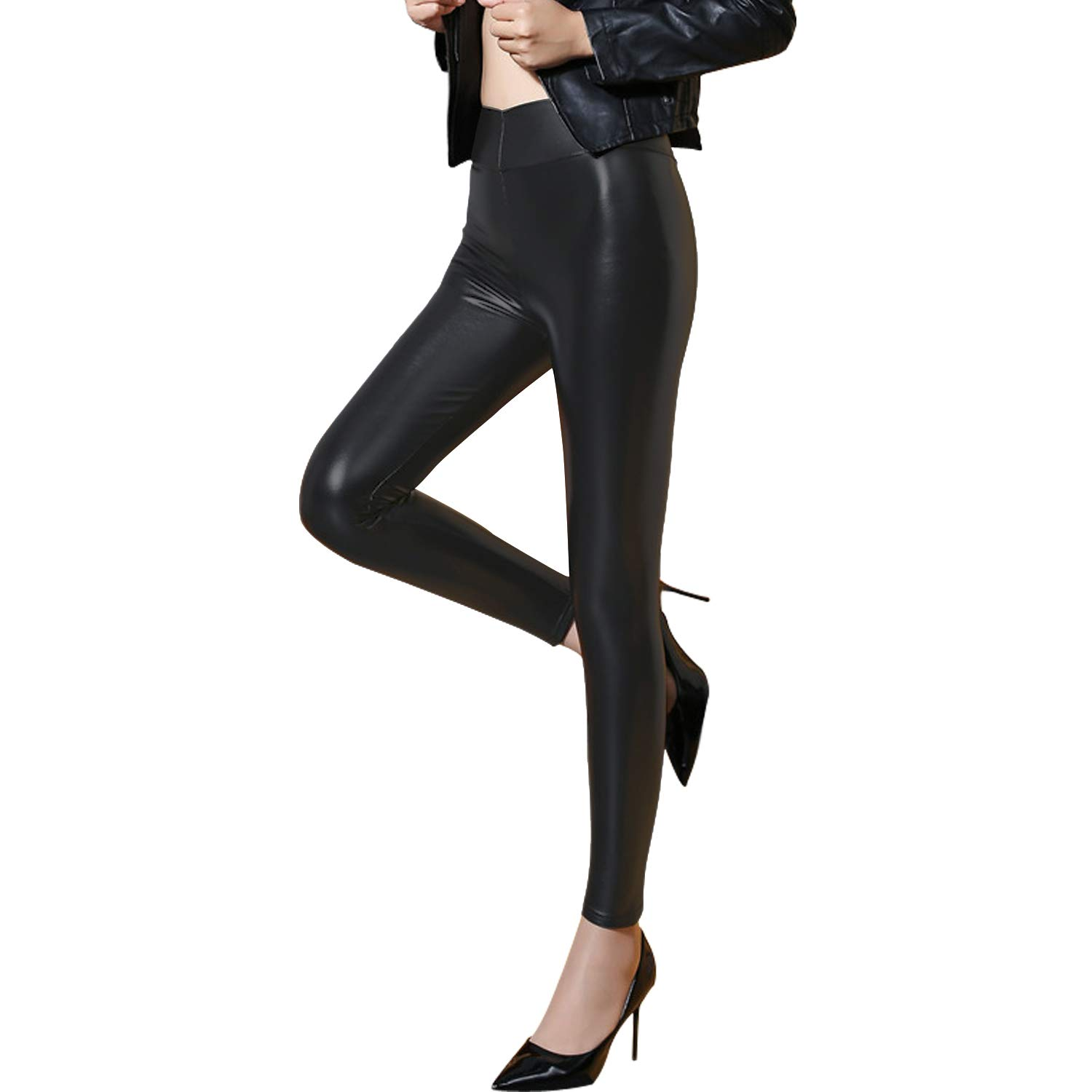 aba21b610576a8 Tulucky Women's Sexy PU Leather Pants Stretchy High Waist/Mid Waist Leggings (S,Midwaist-Black)
