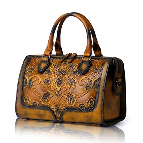 APHISON Designer Hand Bags Unique Embossed Floral Women's Leather Handbags (BROWN) by APHISON