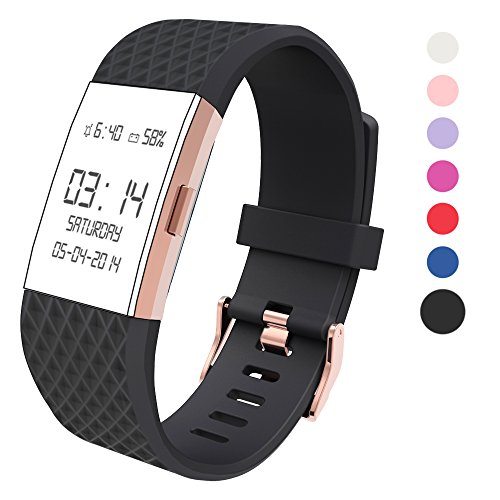 Rose Buckle (Wearlizer For Fitbit Charge 2 Bands Accessories, Silicone Replacement Strap For Fitbit Charge 2 Special Edition Lavender Rose Gold Buckle Rose Gold Fitbit Charge 2)